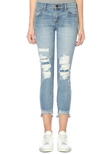 J Brand Yüksek Bel Yırtık Jean Pantolon Mavi